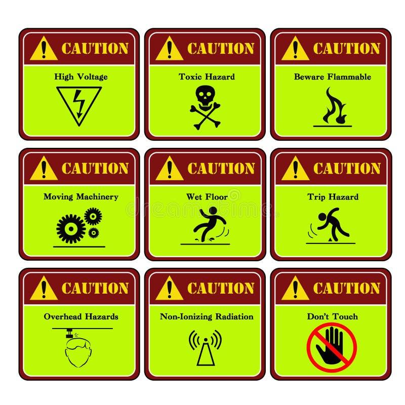Επικίνδυνη και ετικέτα προειδοποίησης στη βιομηχανία ελεύθερη απεικόνιση δικαιώματος