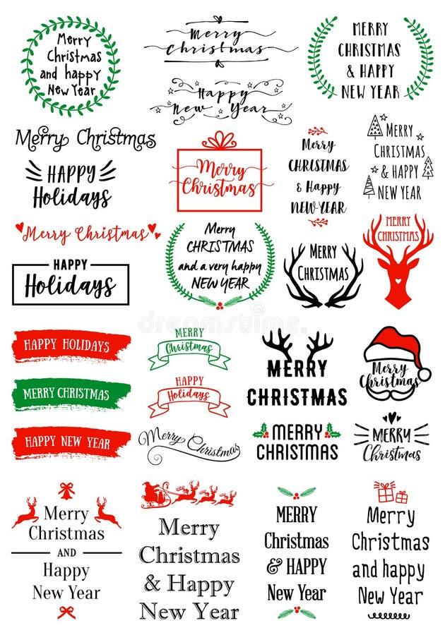 Επικαλύψεις κειμένων Χριστουγέννων, διανυσματικό σύνολο διανυσματική απεικόνιση