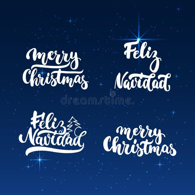 Επικαλύψεις φωτογραφιών φράσεων καλλιγραφίας διακοπών Χριστουγέννων εγγραφής και Feliz Navidad καθορισμένες απομονωμένες στο λάμπ απεικόνιση αποθεμάτων