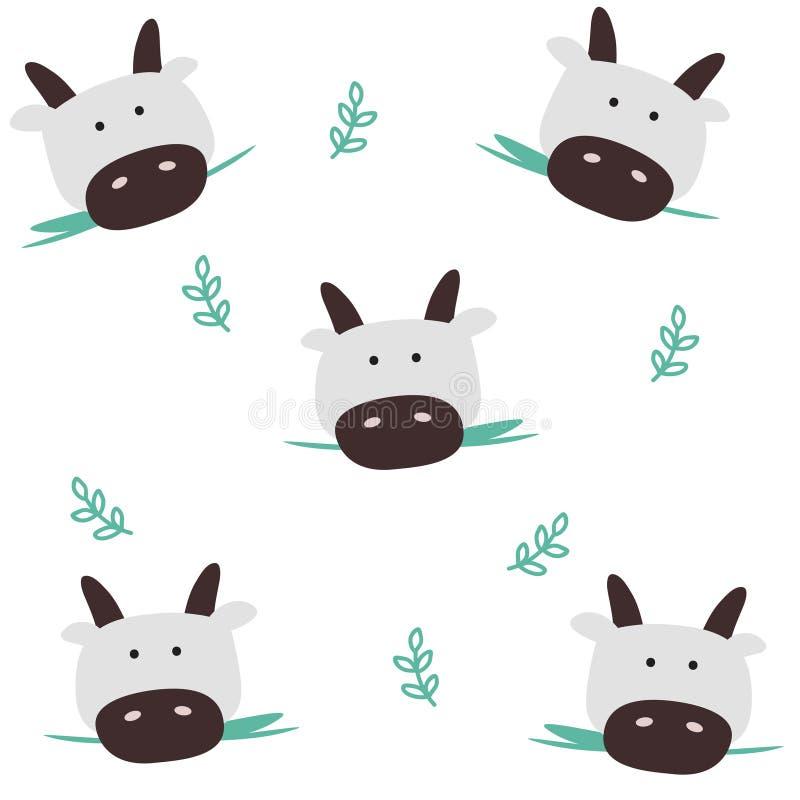 Επικεφαλής άνευ ραφής σχέδιο αγελάδων διανυσματική απεικόνιση