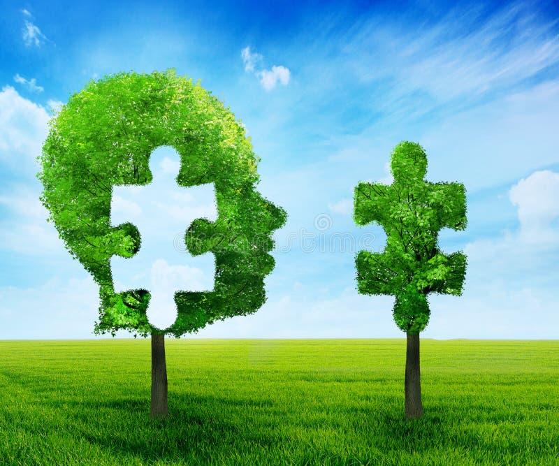 Επικεφαλής έννοια εγκεφάλου γρίφων Πρόσωπο φιαγμένο από πράσινο δέντρο με ένα κομμάτι τορνευτικών πριονιών που αποκόπτει ελεύθερη απεικόνιση δικαιώματος