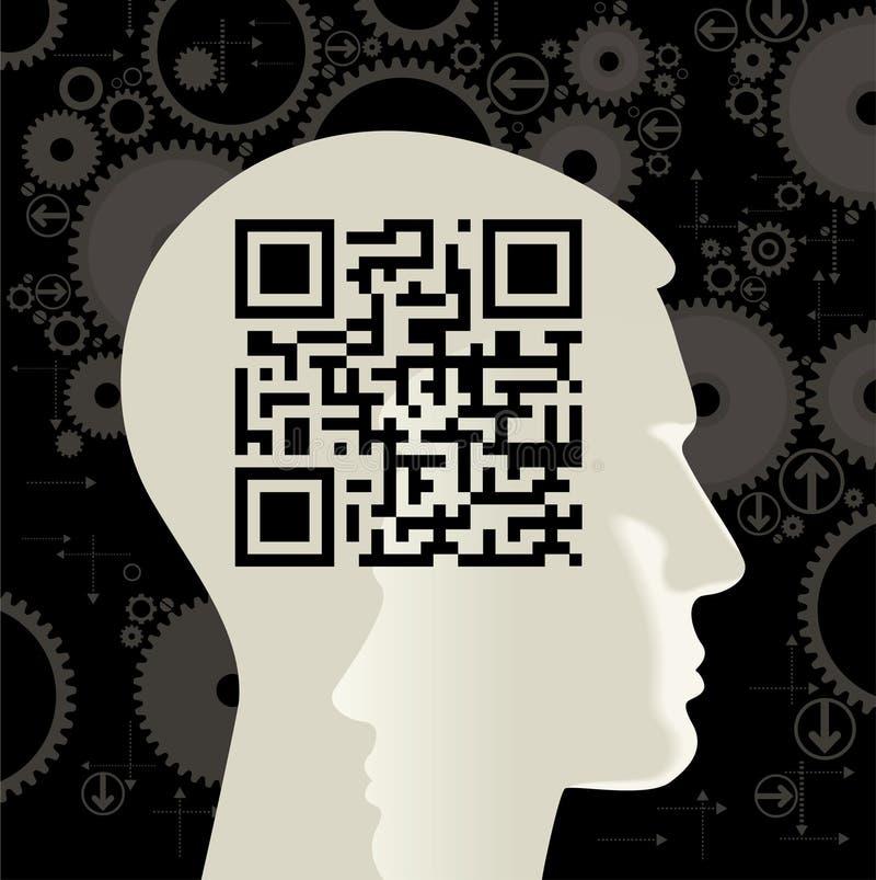 επικεφαλής ανθρώπινο qr κώδικα απεικόνιση αποθεμάτων