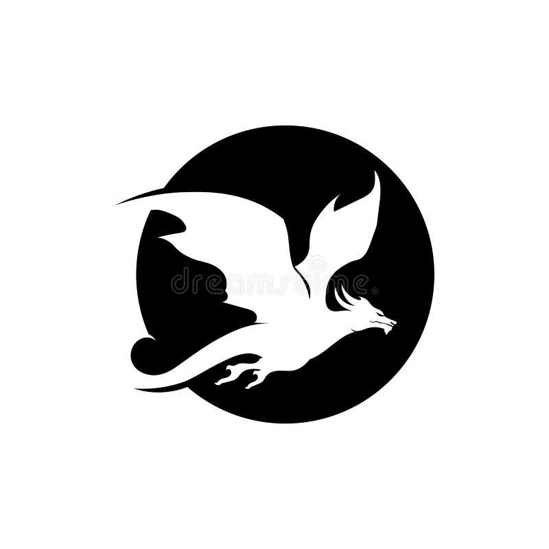 Επικεφαλής απεικόνιση προτύπων λογότυπων χρώματος δράκων επίπεδη ελεύθερη απεικόνιση δικαιώματος