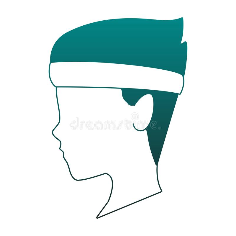 Επικεφαλής απρόσωπος ατόμων με αθλητικό headband στις μπλε γραμμές ελεύθερη απεικόνιση δικαιώματος