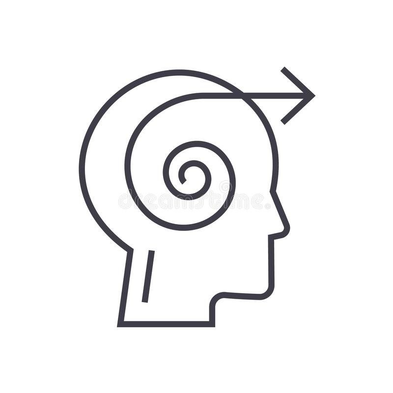 Επικεφαλής γραμμικό εικονίδιο απόφασης εστίασης, σημάδι, σύμβολο, διάνυσμα στο απομονωμένο υπόβαθρο διανυσματική απεικόνιση