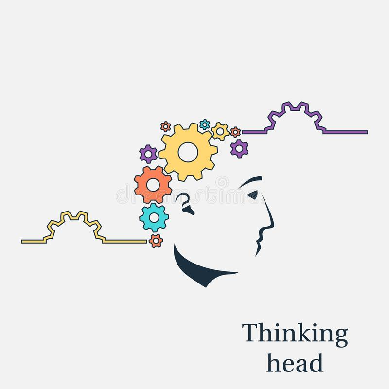 Επικεφαλής διάνυσμα σκέψης διανυσματική απεικόνιση