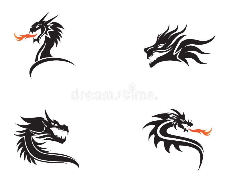 Επικεφαλής διανυσματική απεικόνιση προτύπων λογότυπων χρώματος δράκων επίπεδη απεικόνιση αποθεμάτων