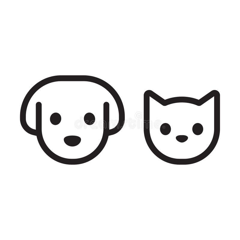 Επικεφαλής εικονίδιο γατών και σκυλιών διανυσματική απεικόνιση