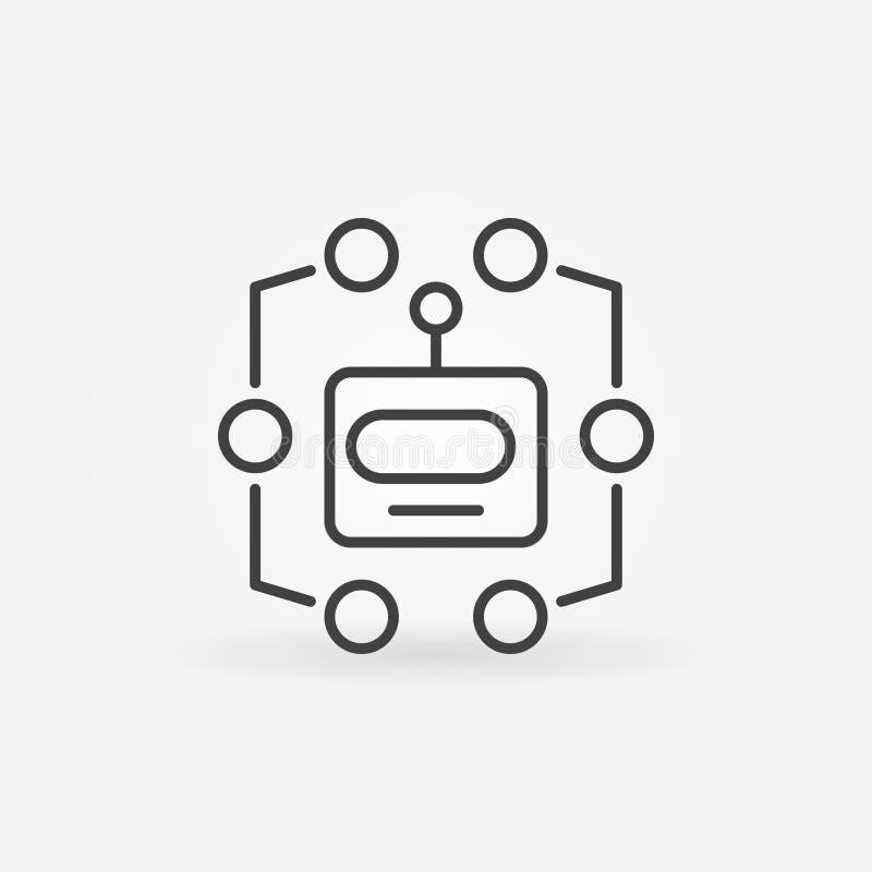 Επικεφαλής εικονίδιο γραμμών ρομπότ Διανυσματικό σύμβολο εκμάθησης μηχανών απεικόνιση αποθεμάτων