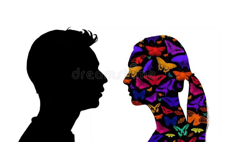 Επικεφαλής και πορτρέτο ώμων ενός άνδρα και μιας γυναίκας με τα διαφορετικά συναισθήματα ελεύθερη απεικόνιση δικαιώματος