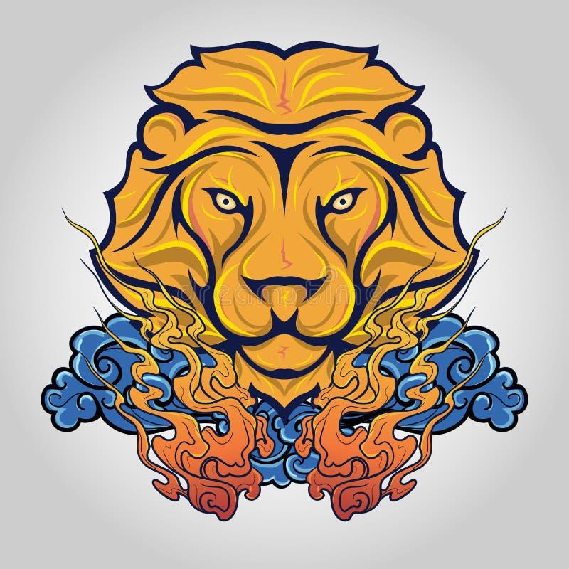 Επικεφαλής λογότυπο εικονιδίων λιονταριών διάνυσμα στοκ εικόνες