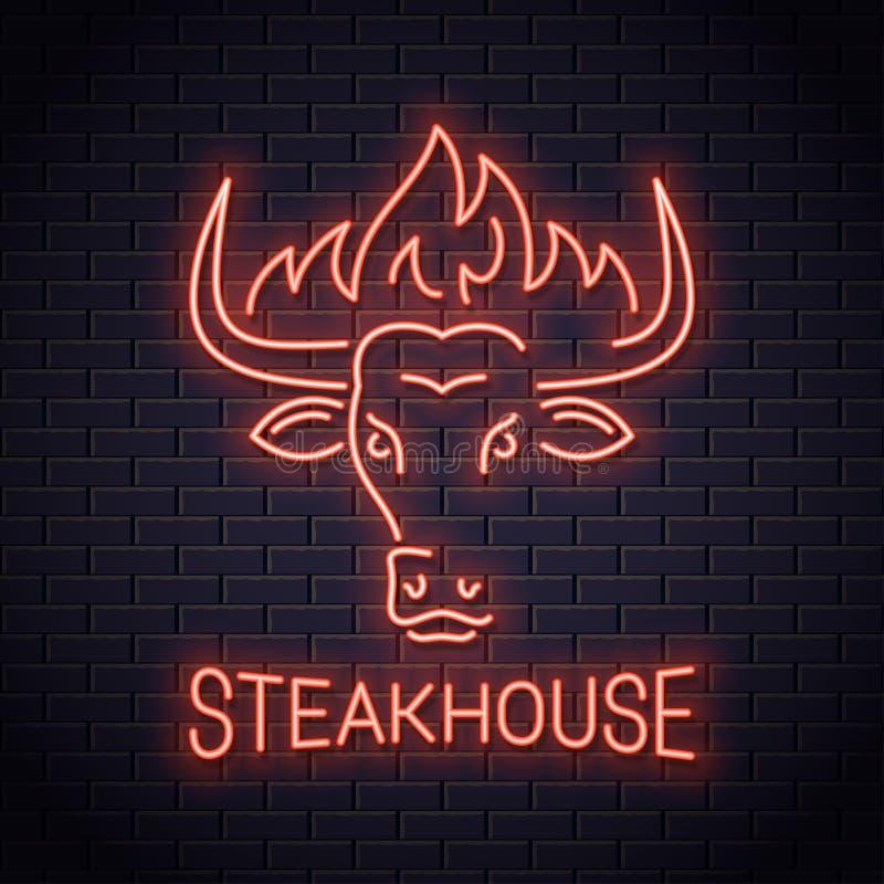 Επικεφαλής λογότυπο νέου του Bull του steakhouse Bull με την πυρκαγιά απεικόνιση αποθεμάτων