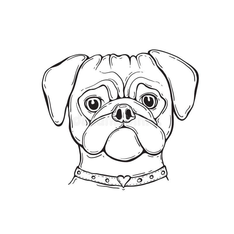 Επικεφαλής μαλαγμένος πηλός σκυλιών, ζωγραφισμένος στο χέρι, πορτρέτο μαύρο λευκό διανυσματική απεικόνιση