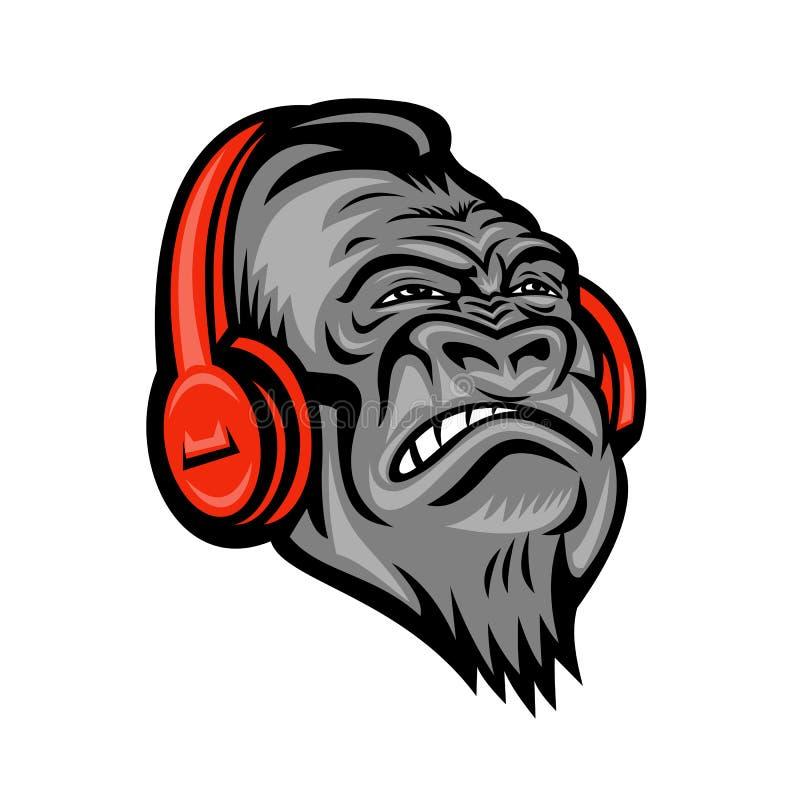 Επικεφαλής μασκότ ακουστικών γορίλλων αναδρομική διανυσματική απεικόνιση