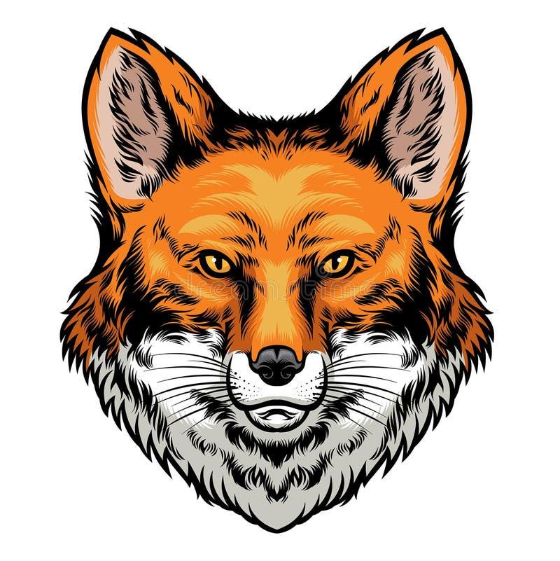 Επικεφαλής συρμένο χέρι ύφος αλεπούδων διανυσματική απεικόνιση