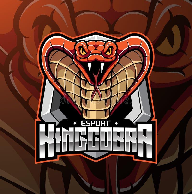 Επικεφαλής σχέδιο λογότυπων μασκότ Cobra βασιλιάδων ελεύθερη απεικόνιση δικαιώματος