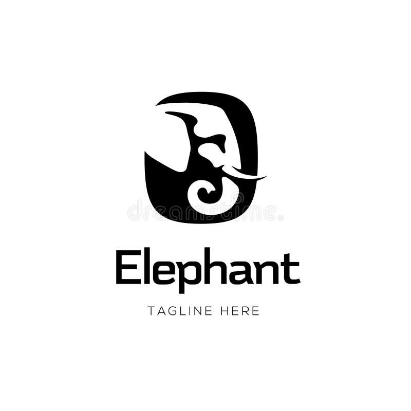 Επικεφαλής σχέδιο λογότυπων σημαδιών ελεφάντων διανυσματική απεικόνιση
