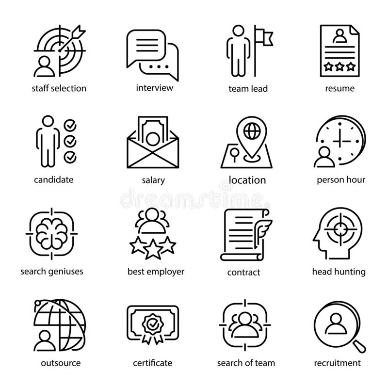 Επικεφαλής σύμβολα συνόλου, απασχόλησης και πρόσληψης εικονιδίων κυνηγιού απεικόνιση αποθεμάτων