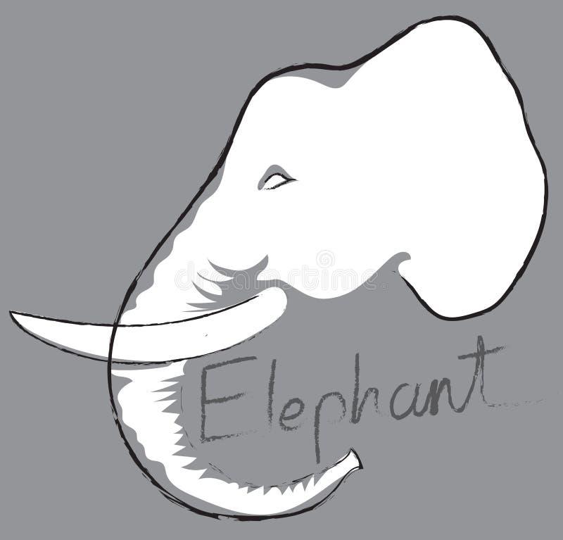 Επικεφαλής σύμβολο ελεφάντων, λογότυπο, σχέδιο γραμμών τέχνης κινούμενων σχεδίων σημαδιών απεικόνιση αποθεμάτων