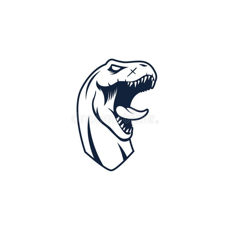 Επικεφαλής τέχνη γραμμών δεινοσαύρων τ-Rex διανυσματική απεικόνιση