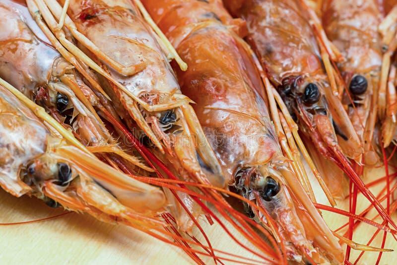Επικεφαλής φρέσκο μεγάλο κόκκινο γαρίδων, πρόχειρο φαγητό παρασκευής, παραδοσιακό πιάτο σούπας Bisk βάσεων της Ισπανίας και της Ι στοκ εικόνες