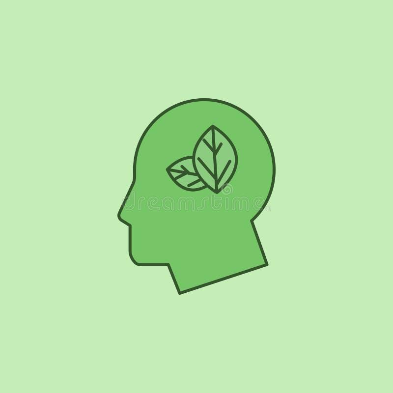 επικεφαλής φύλλα, πράσινο εικονίδιο μυαλού διανυσματική απεικόνιση