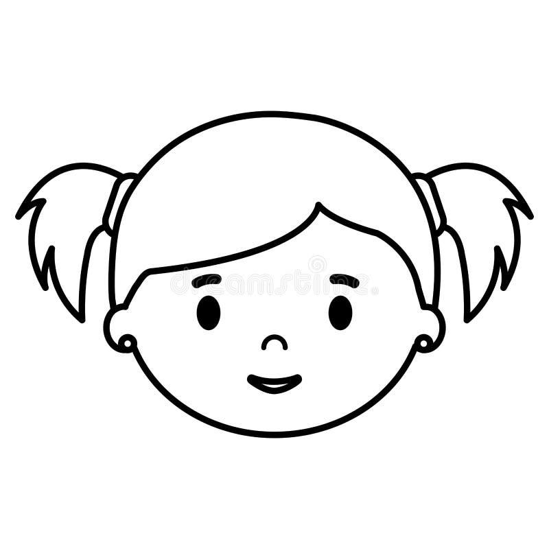 Επικεφαλής χαρακτήρας κορών μικρών κοριτσιών διανυσματική απεικόνιση