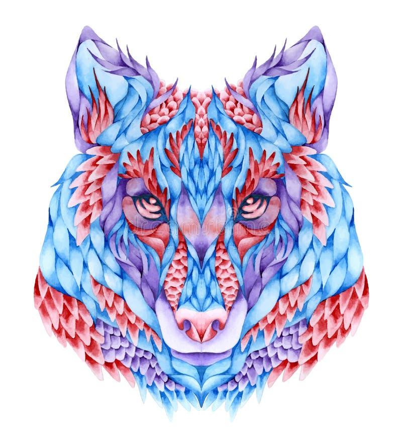Επικεφαλής δερματοστιξία λύκων Watercolor απεικόνιση αποθεμάτων