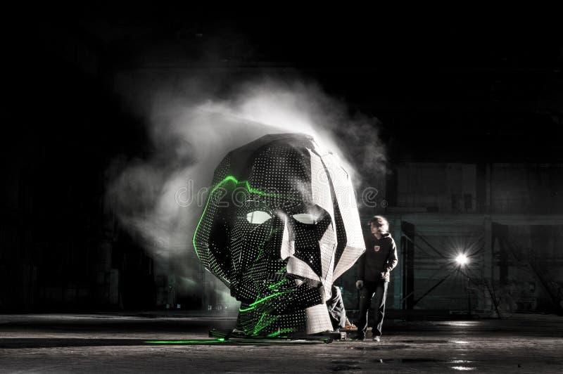 Επικεφαλής καπνίζοντας πρόσωπο τέχνης υπόστεγων φεστιβάλ gogol στοκ φωτογραφία με δικαίωμα ελεύθερης χρήσης