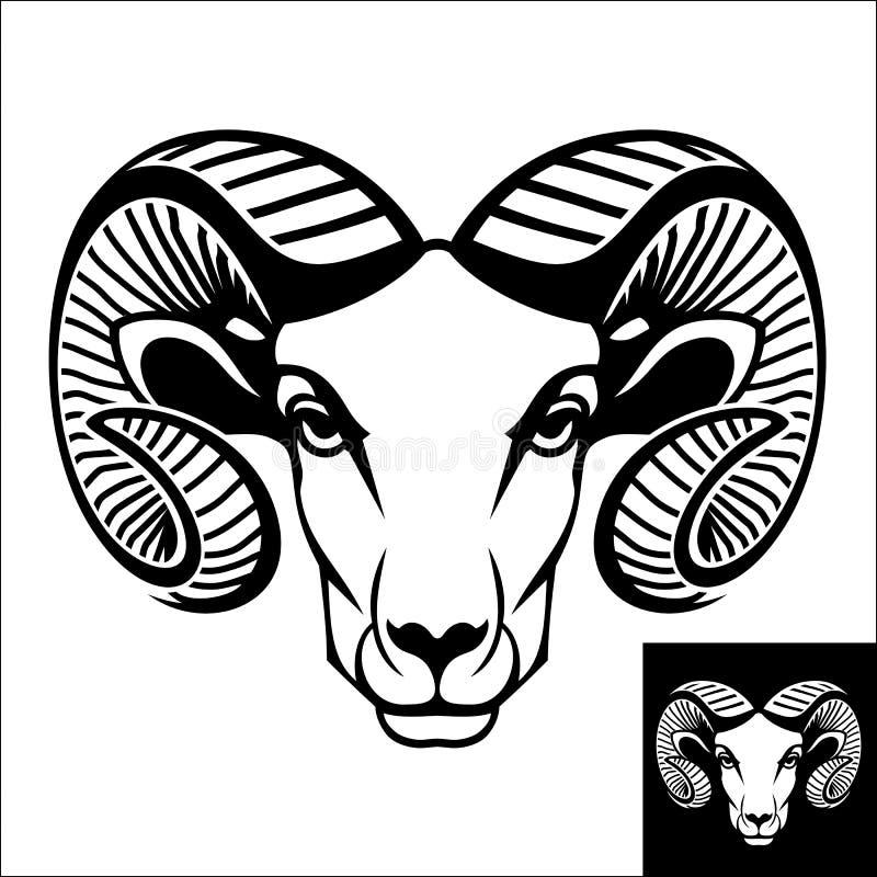 Επικεφαλής λογότυπο ή εικονίδιο κριού απεικόνιση αποθεμάτων