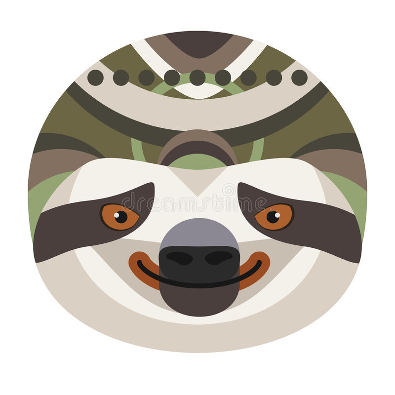 Επικεφαλής λογότυπο νωθρότητας Διανυσματικό διακοσμητικό έμβλημα απεικόνιση αποθεμάτων