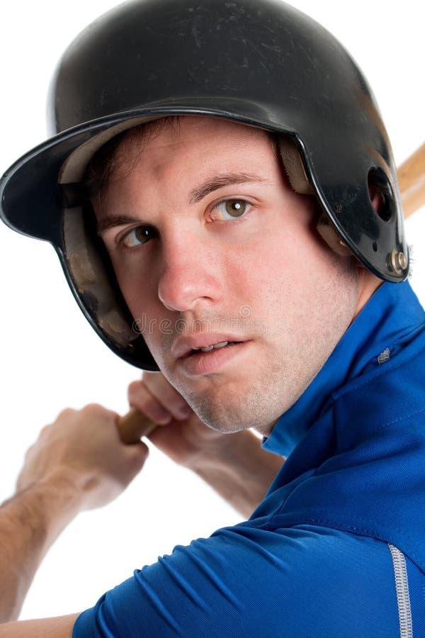 Επικεφαλής πυροβολισμός παιχτών του μπέιζμπολ στοκ εικόνες