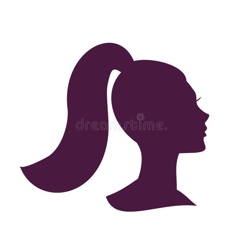Επικεφαλής σκιαγραφία γυναικών Όμορφο εικονίδιο κοριτσιών Όμορφο κορίτσι διανυσματική απεικόνιση
