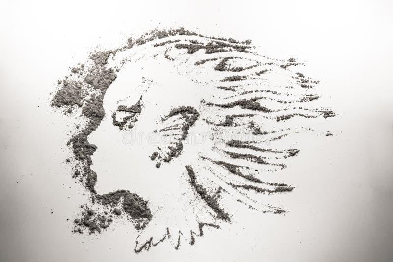 Επικεφαλής σχέδιο κοριτσιών φαντασίας στη σκόνη, τέφρα, άμμος, ρύπος απεικόνιση αποθεμάτων
