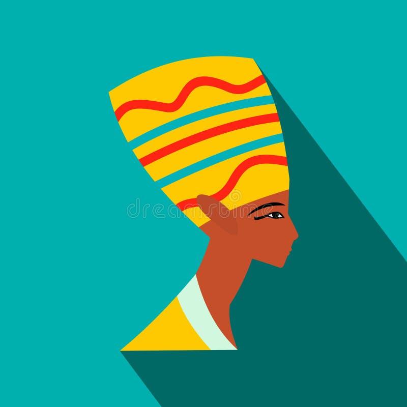 Επικεφαλής του εικονιδίου Nefertiti, επίπεδο ύφος ελεύθερη απεικόνιση δικαιώματος