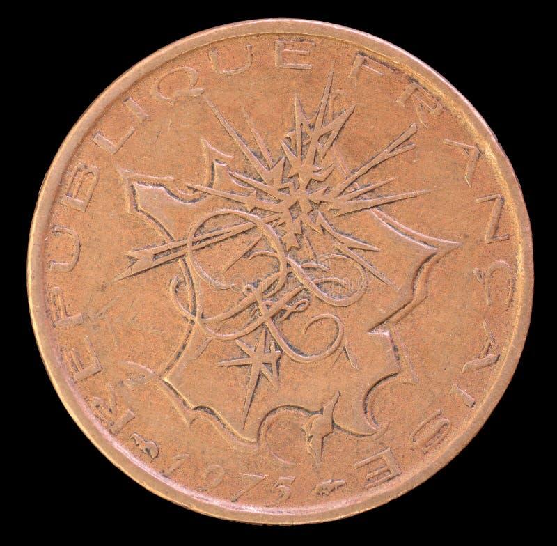 Επικεφαλής 10 φράγκων νομισμάτων, που εκδίδεται από τη Γαλλία που απεικονίζει το 1975 έναν χάρτη της μητροπολιτικής Γαλλίας με τι στοκ φωτογραφία