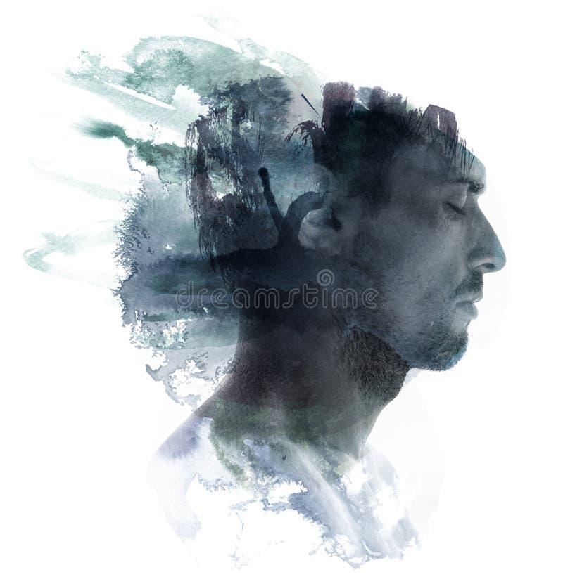 επικεφαλής watercolor πορτρέτου εικόνας διανυσματική απεικόνιση