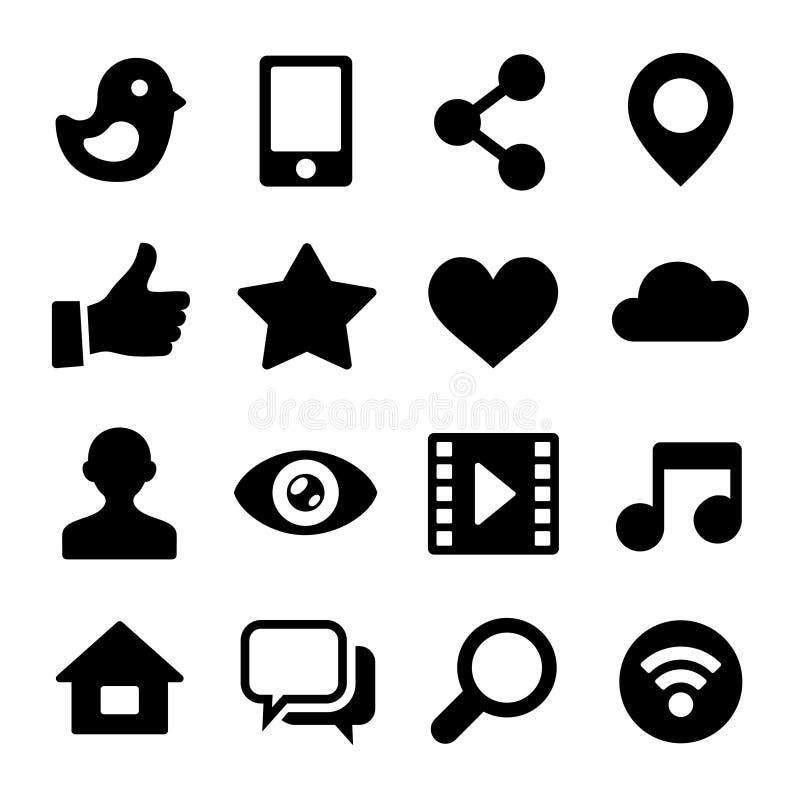 Επικοινωνίας εικονίδια δικτύων που τίθενται κοινωνικά για τον Ιστό. Διάνυσμα διανυσματική απεικόνιση