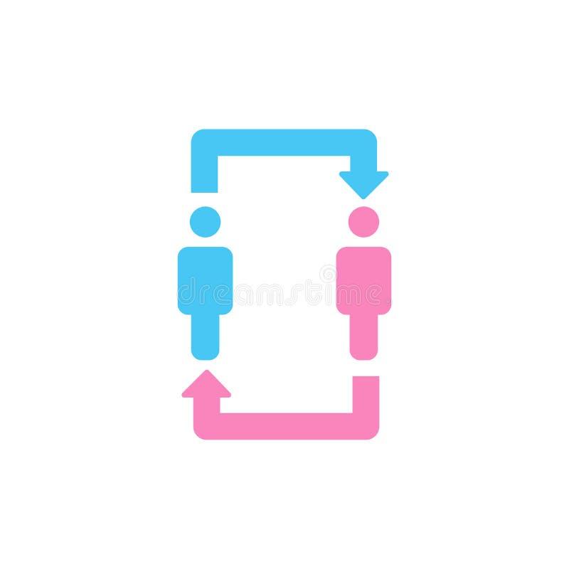 Επικοινωνία δύο ατόμων και εικονίδιο σχέσης άτομα και womqn με το εικονίδιο βελών Σχέση, συζήτηση, μετάφραση και exchang ελεύθερη απεικόνιση δικαιώματος