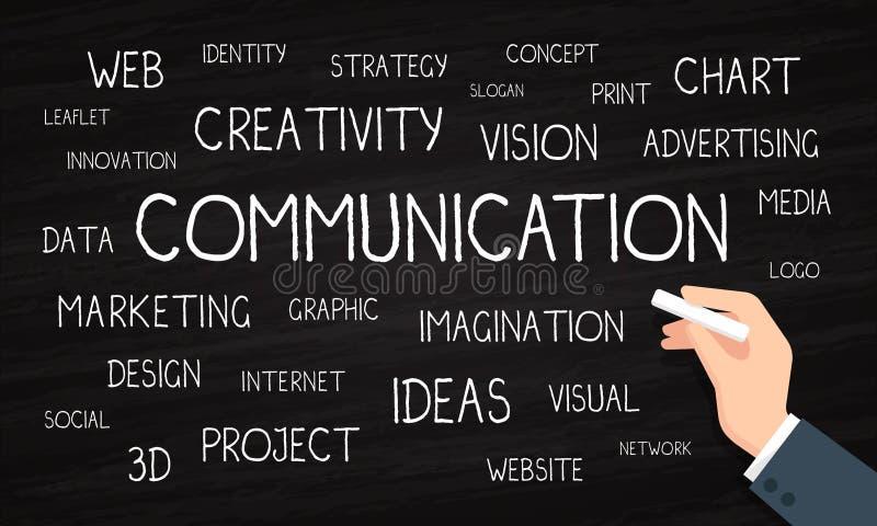 Επικοινωνία και κιμωλία και πίνακας μάρκετινγκ - σύννεφο λέξης - απεικόνιση αποθεμάτων