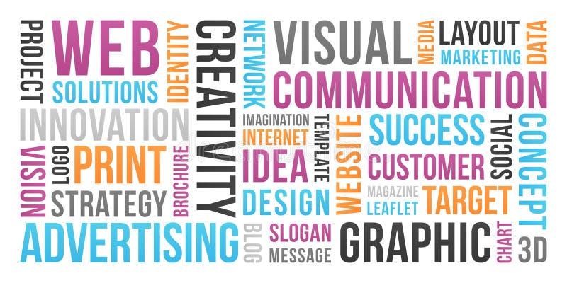 Επικοινωνία και μάρκετινγκ - σύννεφο λέξης απεικόνιση αποθεμάτων