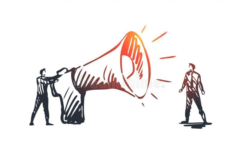 Επικοινωνία, ομιλητής, megaphone, έννοια ανακοίνωσης Συρμένο χέρι απομονωμένο διάνυσμα ελεύθερη απεικόνιση δικαιώματος