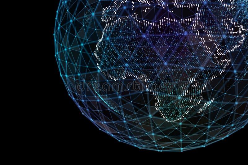 Επικοινωνία στο ψηφιακό δίκτυο γήινη σφαίρα τρισδιάστατη απεικόνιση διανυσματική απεικόνιση