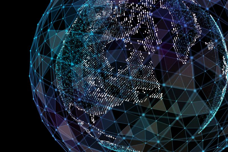 Επικοινωνία στο ψηφιακό δίκτυο γήινη σφαίρα τρισδιάστατη απεικόνιση απεικόνιση αποθεμάτων