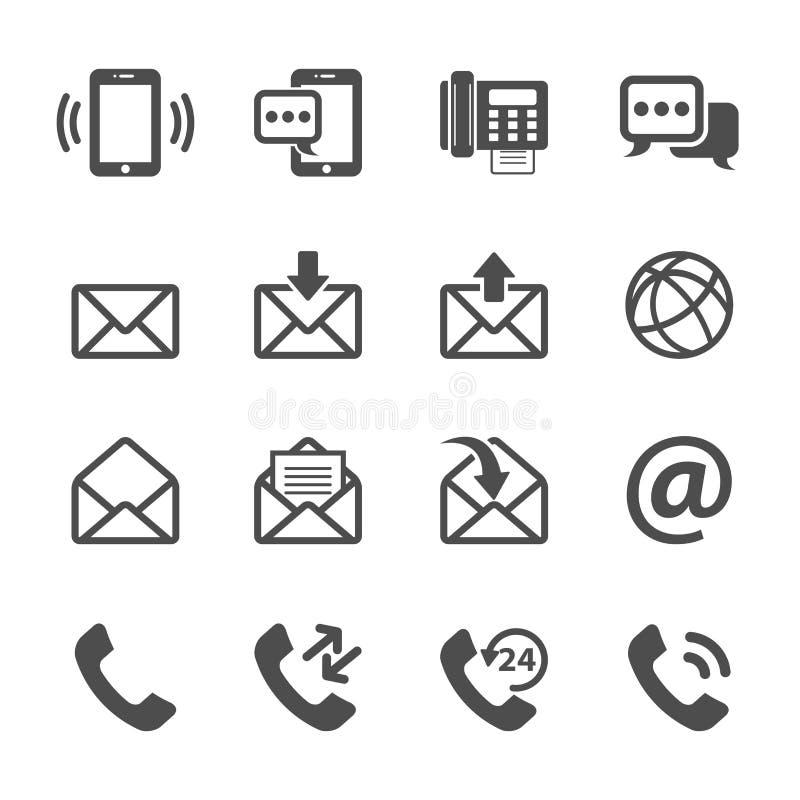 Επικοινωνία του τηλεφώνου και του συνόλου εικονιδίων ηλεκτρονικού ταχυδρομείου, διανυσματικό eps10 απεικόνιση αποθεμάτων