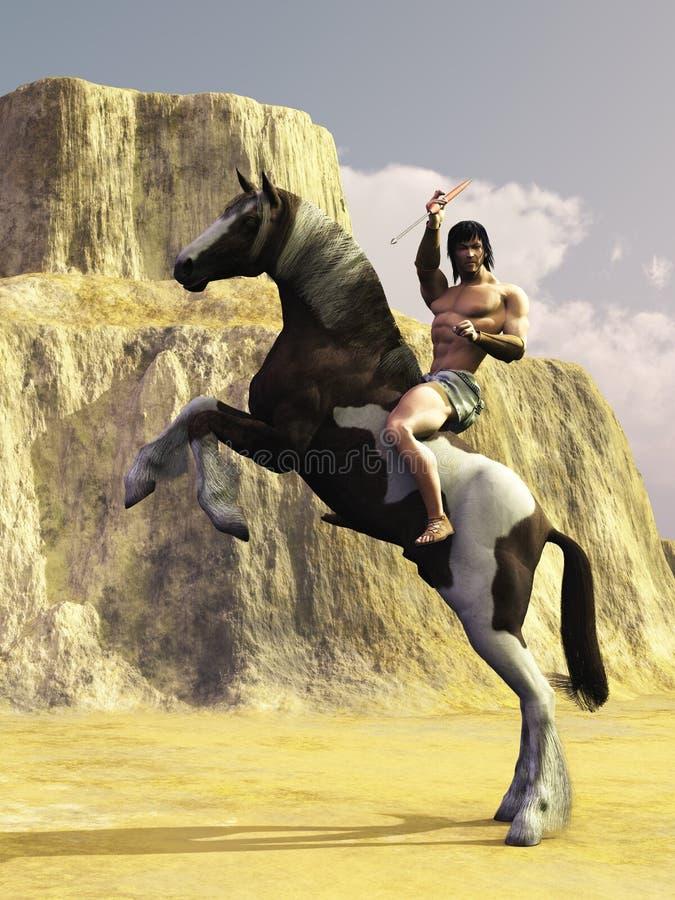 Επικολλημένος πολεμιστής Grecian με τη λόγχη διανυσματική απεικόνιση