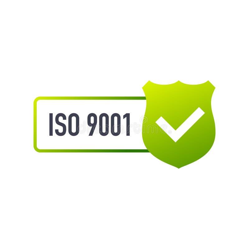 Επικυρωμένο διακριτικό του ISO 9001, εικονίδιο Γραμματόσημο πιστοποίησης Επίπεδο διάνυσμα σχεδίου διανυσματική απεικόνιση