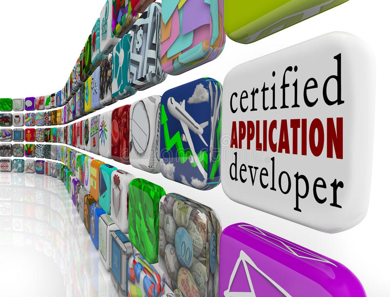 Επικυρωμένο λογισμικό Develo προγραμματισμού Apps υπεύθυνων για την ανάπτυξη εφαρμογής διανυσματική απεικόνιση