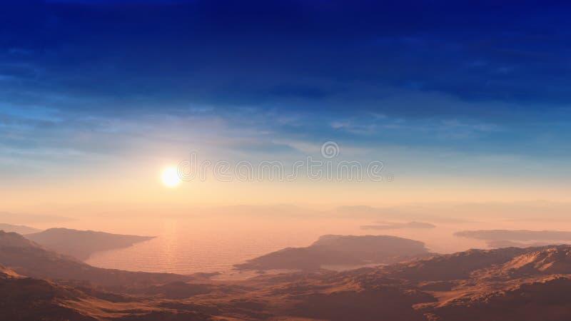 Επικό ηλιοβασίλεμα στην έρημο με το νερό απεικόνιση αποθεμάτων