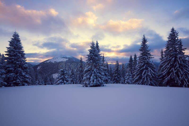 Επικό χειμερινό ηλιοβασίλεμα στα βουνά στοκ εικόνες με δικαίωμα ελεύθερης χρήσης